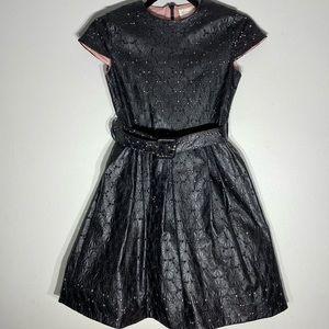 Black Leather Floral Dress**Age 12